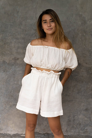 Open image in slideshow, Diana High Waisted A-Line Cotton Shorts with Pockets White