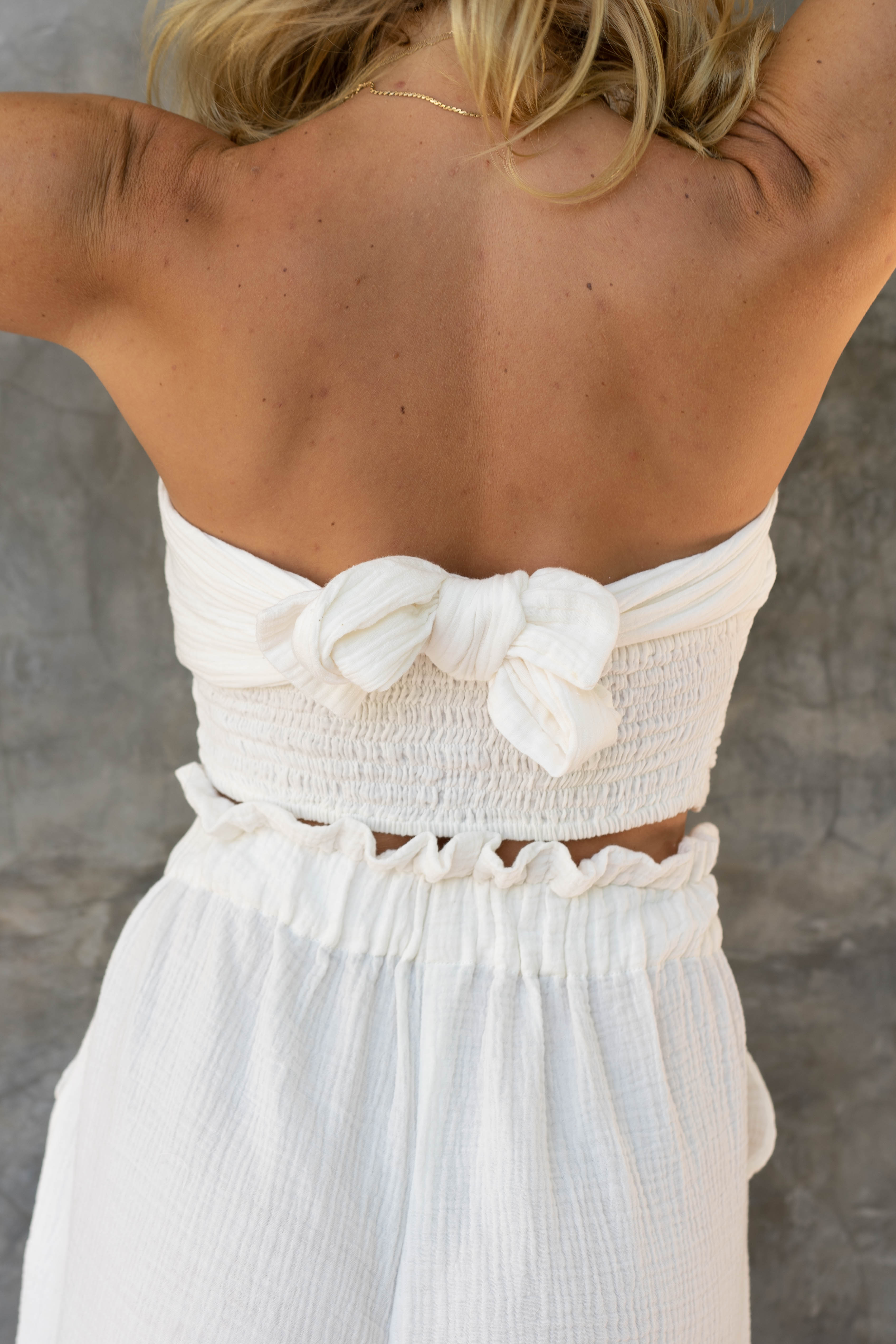 Nina Bandeau Cotton Wrap Top White