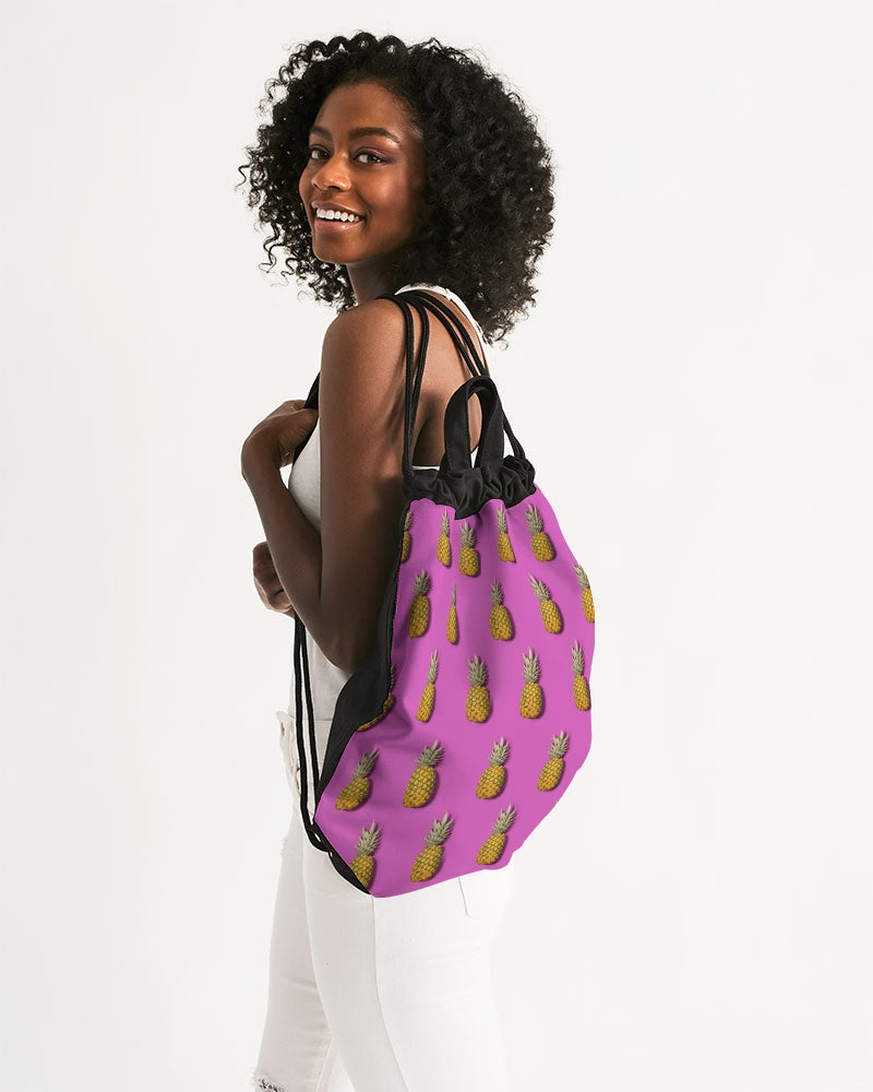 Tropical Pineapple Canvas Drawstring Bag