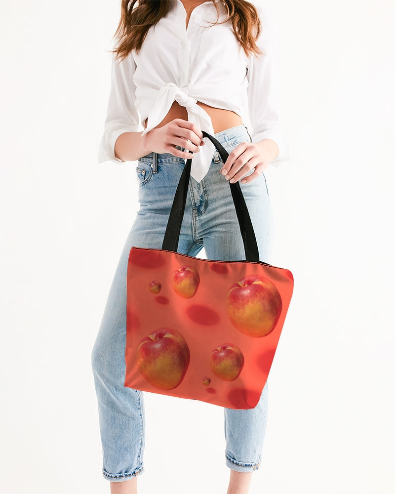 Floating Nectarines Canvas Zip Tote