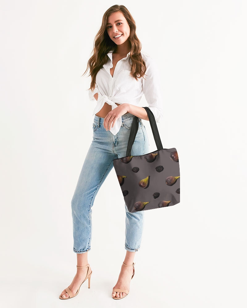 Figs and Berries Canvas Zip Tote