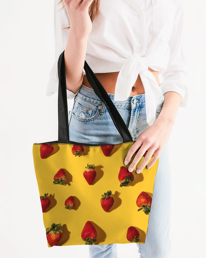 bright strawberries Canvas Zip Tote