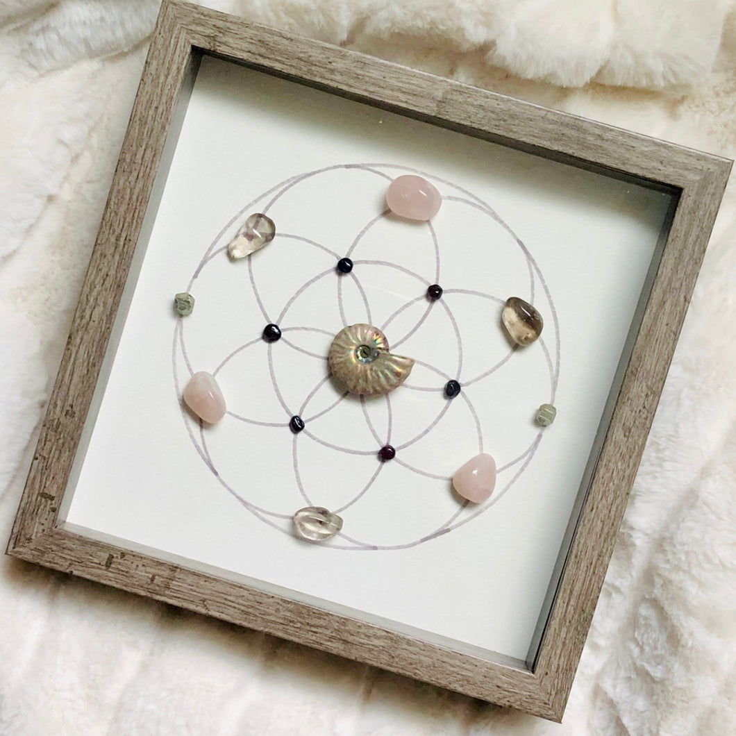 Breast Cancer Journey Framed Crystal Grid