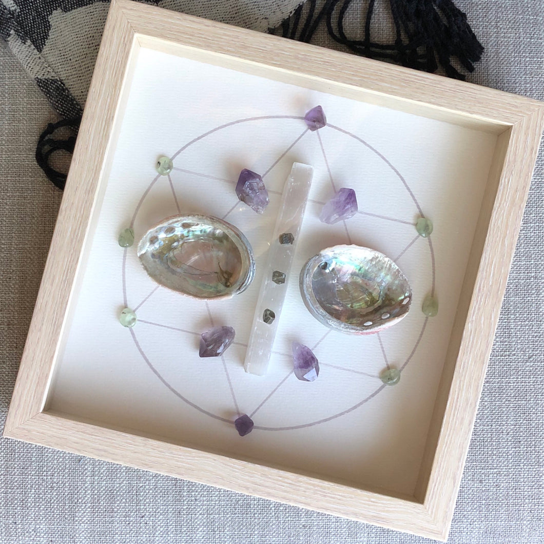 Full Moon Framed Crystal Grid