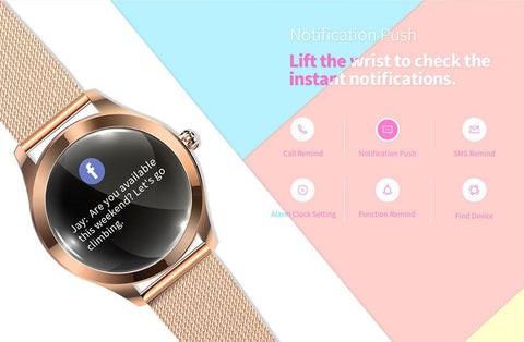 Jewel Smart Watch Waterproof Smartwatches Best Compatible With iPhone For Women Round Rose Gold Under 100