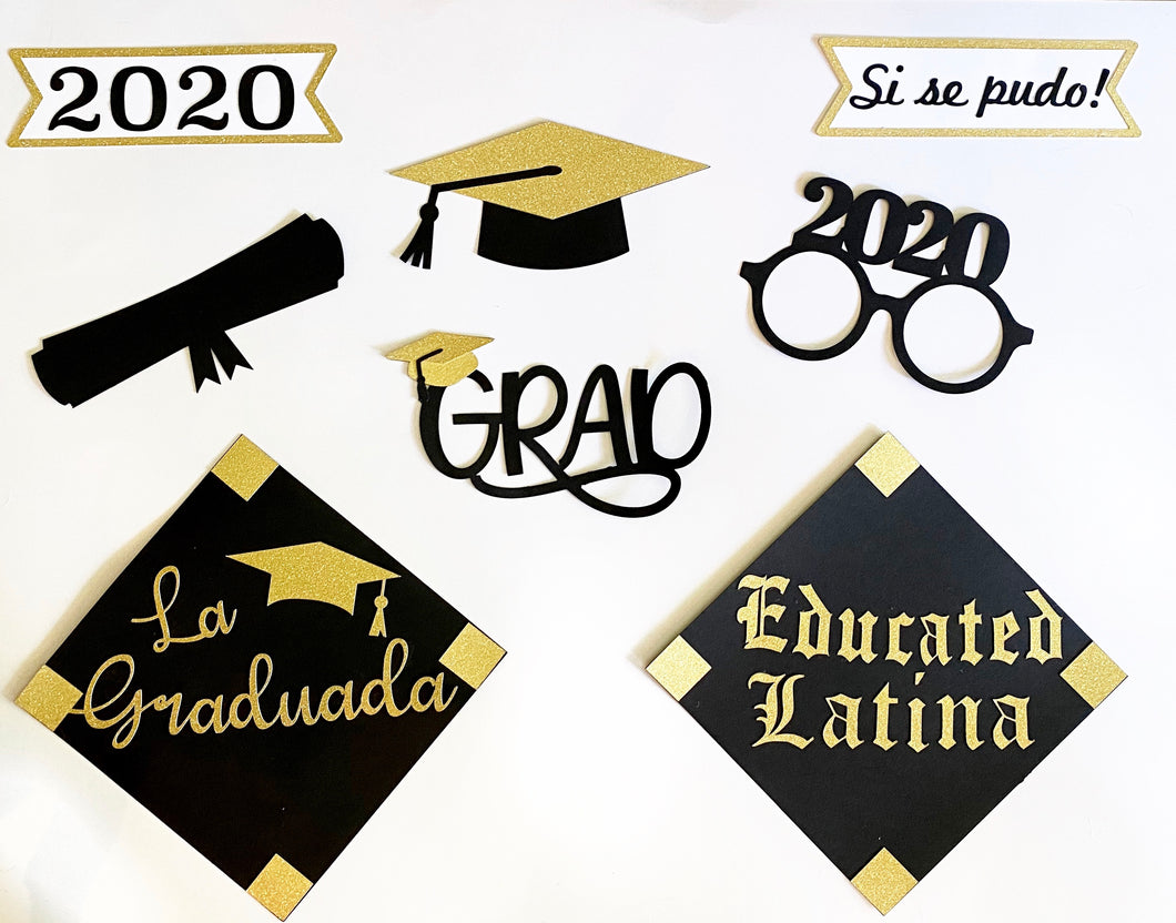 Educated Latina Graduation Photobooth Prop Package