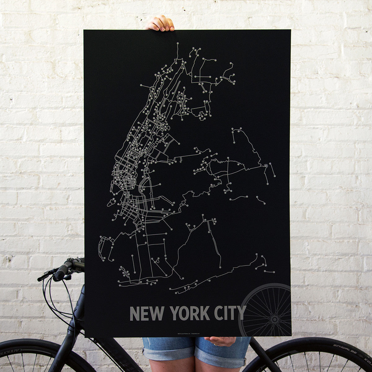NYC Bike Poster  LinePosters - Nyc map bike lanes