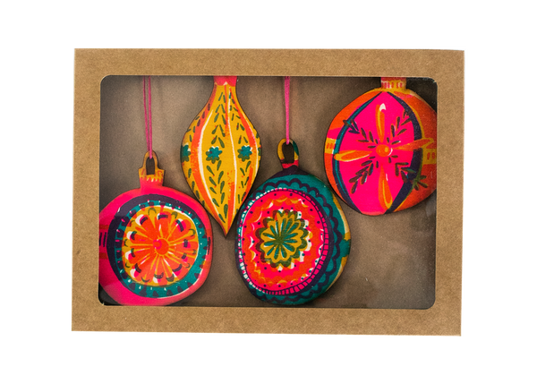 Four Pack of Bauble Decorations