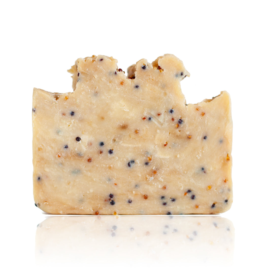 Citrus Scrub is a powerfully uplifting bar with a dose of quinoa to scrub away dead skin. Handmade, natural, vegan, olive oil soap. Made on Vancouver Island in BC, Canada.