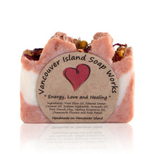 Load image into Gallery viewer, Our number one bestselling bar, for good reason! This beautifully sweet scent combines with french pink clay, chamomile and rose petals to create a sumptuous soap experience. Handmade, natural, vegan, olive oil soap. Made on Vancouver Island in BC, Canada.