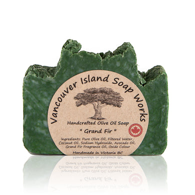 Grand Fir (abies grandis) is native to the Pacific Northwest and is every bit as grand as its name. Its intoxicating scent is a match made in heaven combined with our olive oil soap base. Handmade, natural, vegan, olive oil soap. Made on Vancouver Island in BC, Canada.