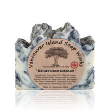 Load image into Gallery viewer, We have combined seven different anti-viral and anti-bacterial essential oils, along with deep-sea mud and activated bamboo charcoal to give you this detoxifying yet moisturizing soap. Handmade, natural, vegan, olive oil soap. Made on Vancouver Island in BC, Canada.
