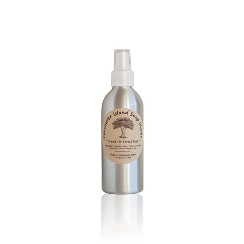 Bring the forests of BC indoors with this woodsy room spray. Natural room spray scented with essential oils. Made on Vancouver Island in BC, Canada.