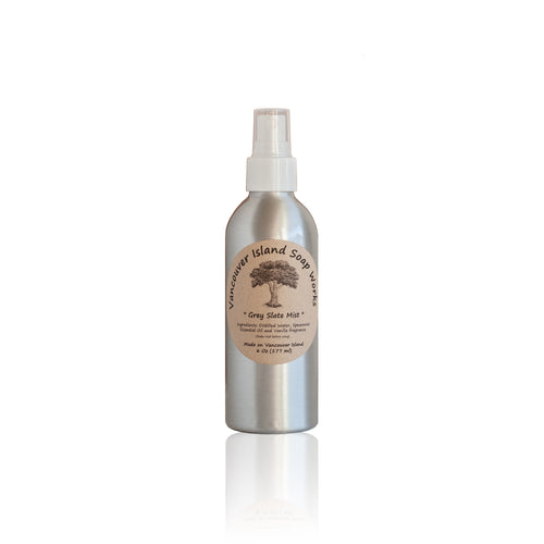 Scented with our bestselling Grey Slate aroma, this fresh and masculine smell is a staff favourite. Natural room spray scented with essential oils. Made on Vancouver Island in BC, Canada.
