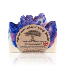 Load image into Gallery viewer, This gorgeous soap encapsulates the fresh aroma of spring. The true hyacinth scent is a hit with floral lovers. It also looks incredible in your soap dish. Handmade, natural, vegan, olive oil soap. Made on Vancouver Island in BC, Canada.
