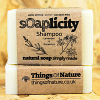 Solid Shampoo Bar: Lavender & Rose Geranium-Soaps-Things of Nature