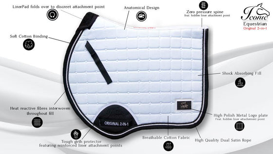Iconic 2-in-1 Saddle Pad - Olympic White