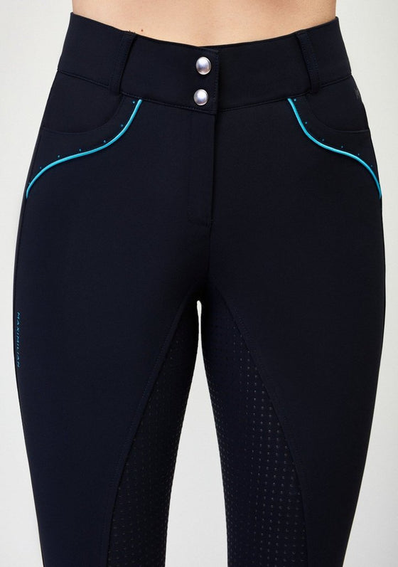 Vienna Full Grip Breeches - Navy and Sky Blue