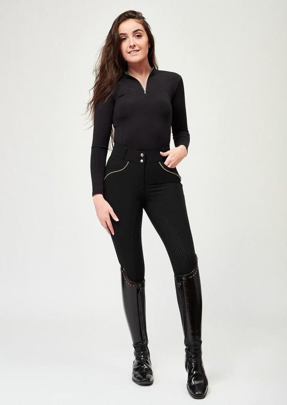 Vienna Full Grip Breeches - Black and Gold