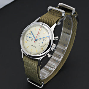 Seagull 1963 watch 38mm green nato strap