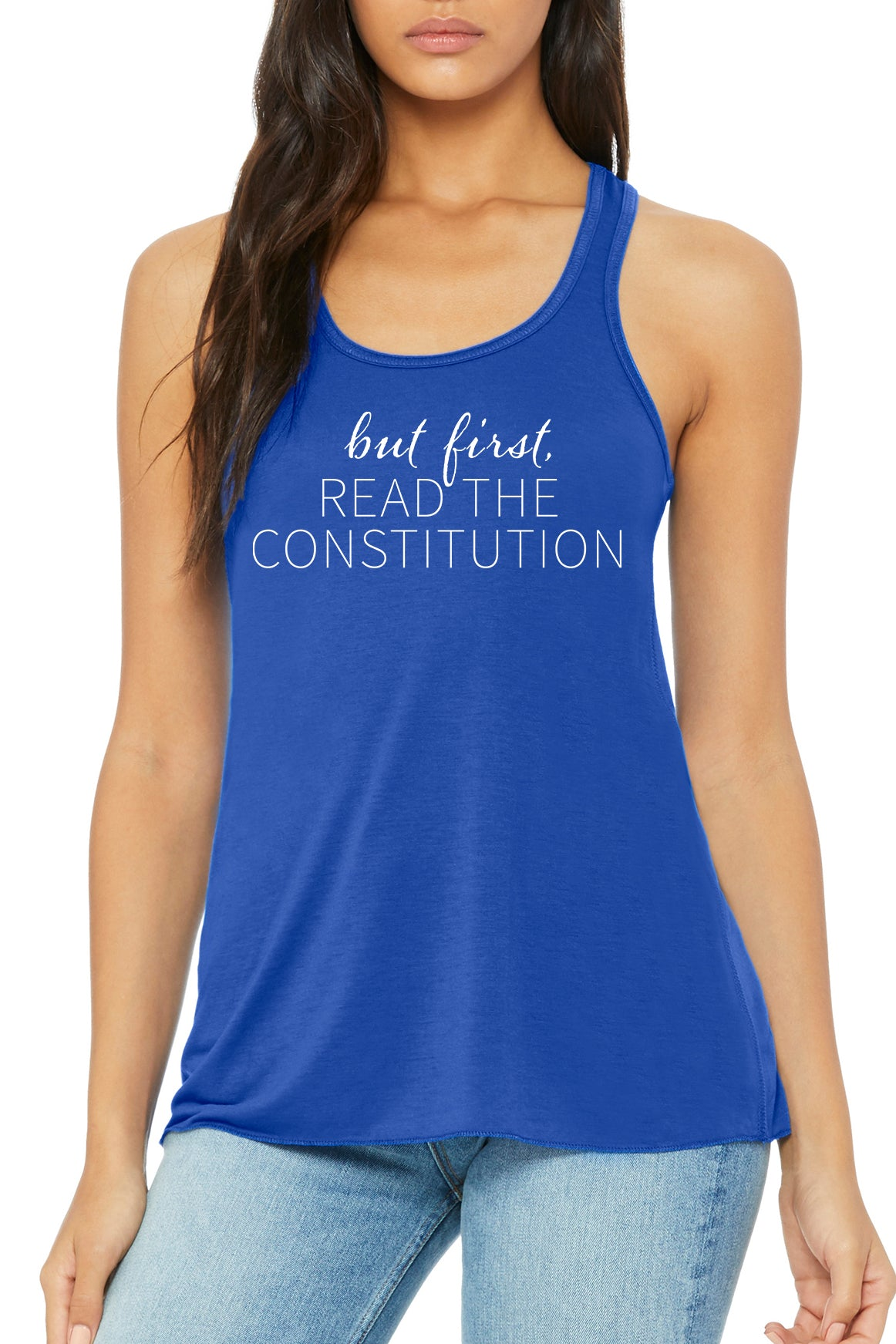 But First Read The Constitution, Royal Blue Flowy Tank Top