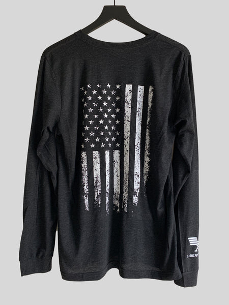 Santa's Favorite Patriot Long Sleeve Charcoal Crew Neck