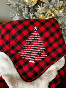 Preamble Christmas Tree Buffalo Check Throw Blanket