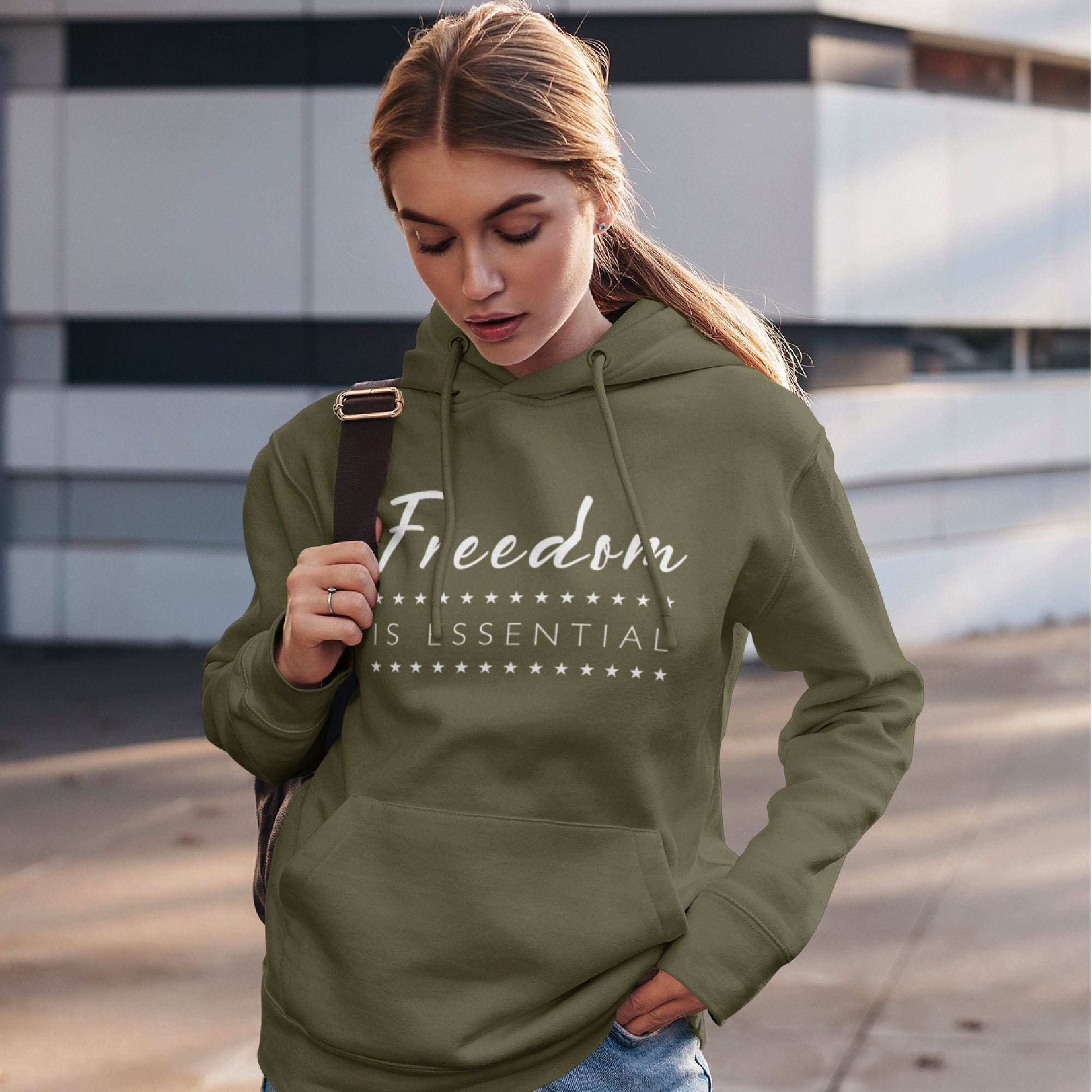Freedom Is Essential, Military Green Hoodie