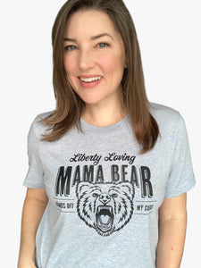Liberty Loving Mama Bear, Heather Blue Crew Neck Shirt