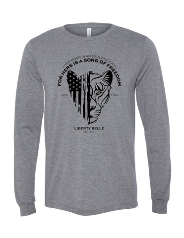 Patriotic Lioness™ Long Sleeve,  Grey, Crew Neck