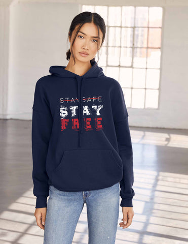 Stay Safe, Stay Free™, Navy Fleece Hoodie