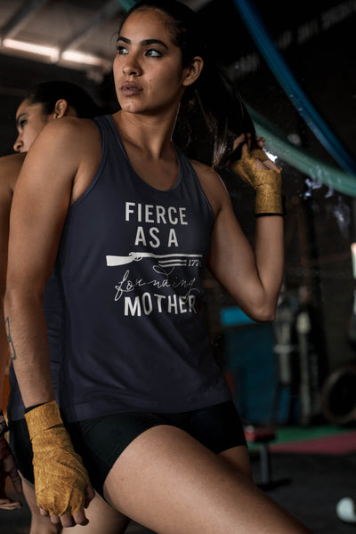 Fierce as a Founding Mother Navy Fitted Tank Top