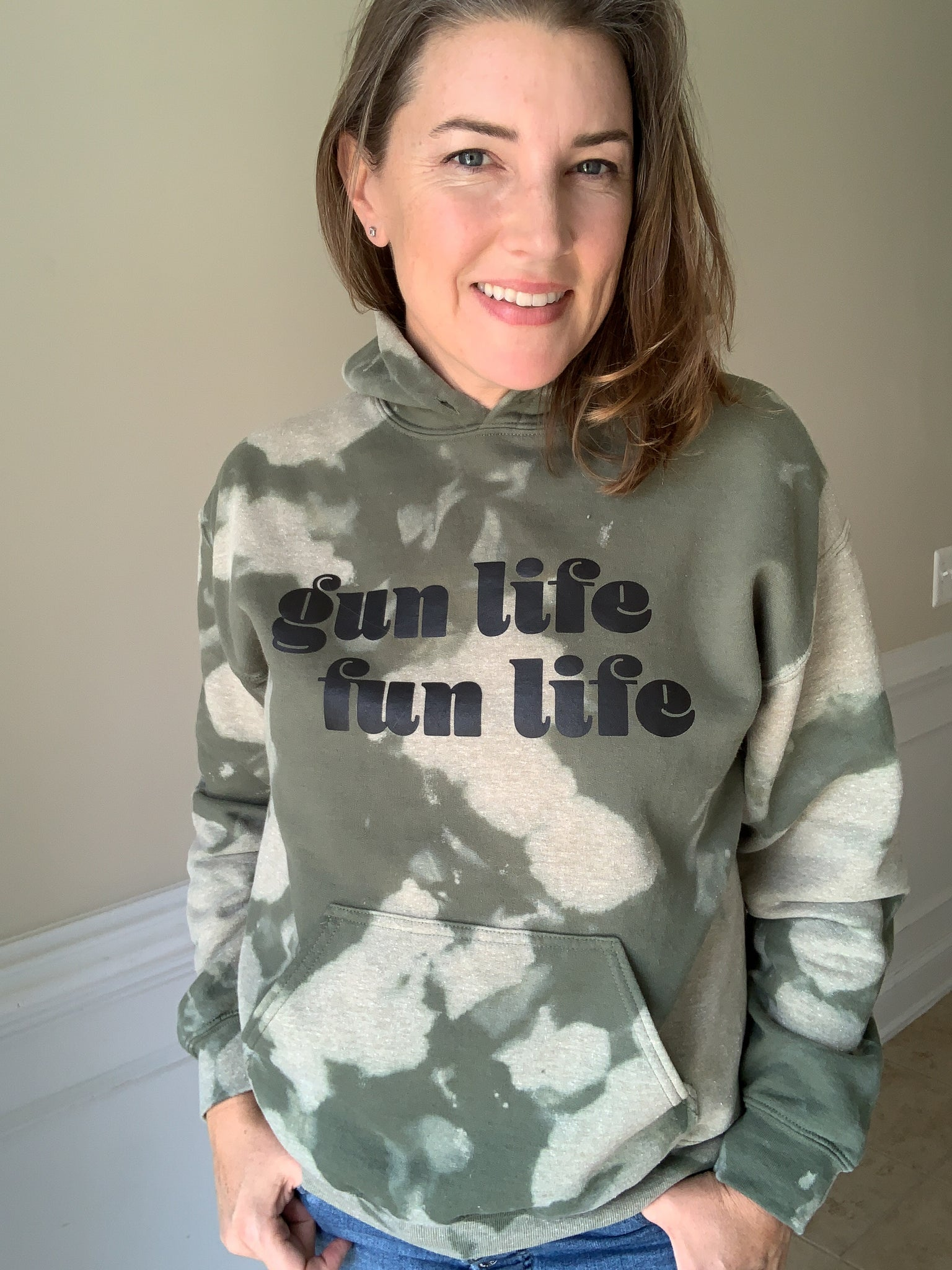 Acid Washed Gun Life Fun Life Hoodie
