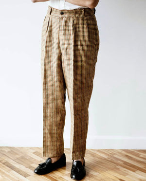 3 Pleats Linen Old Check, Nigel Cabourn - The Signet Store