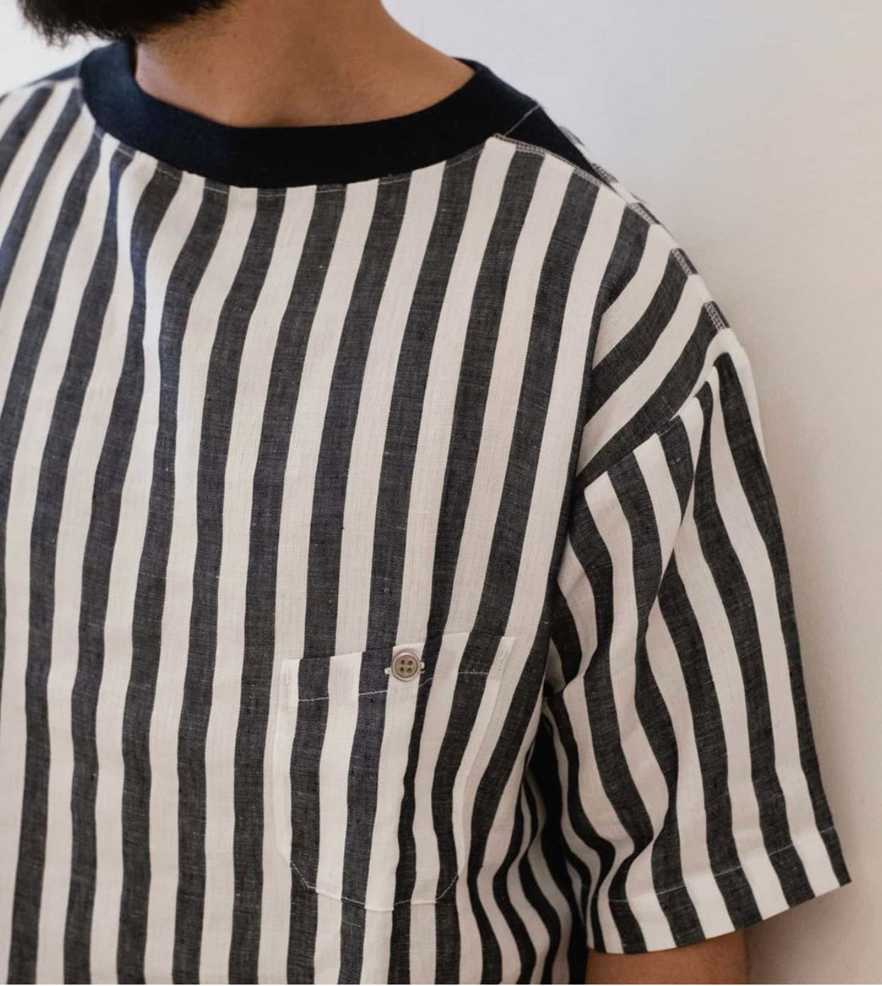 Big Pocket T Linen Stripes, Nigel Cabourn - The Signet Store