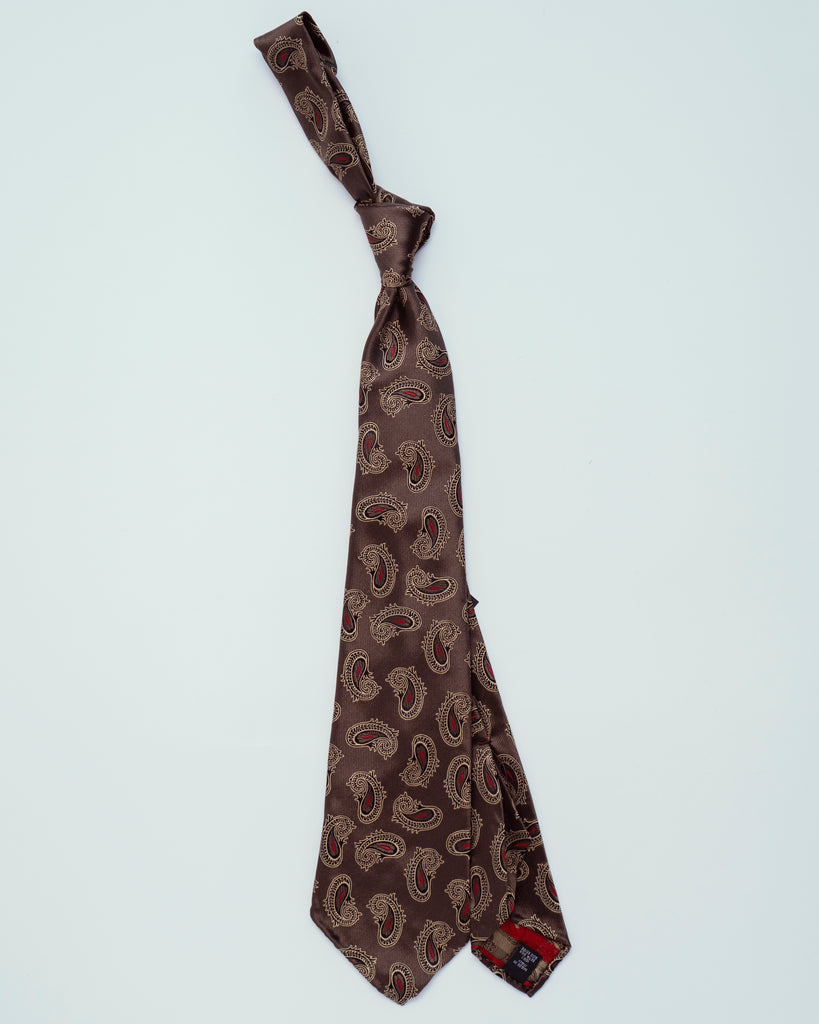 Light Brown w/ Gold Paisley | 100% Silk, Tie Your Tie - The Signet Store
