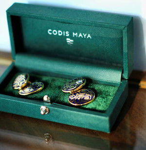 Open image in slideshow, Scroll Cufflinks D/P Navy, Codis Maya - The Signet Store