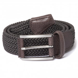Open image in slideshow, Mid Gray-Brown Trim Braided Belt