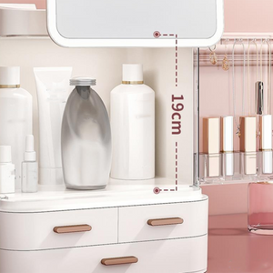 Makeup Storage Box With Mirror