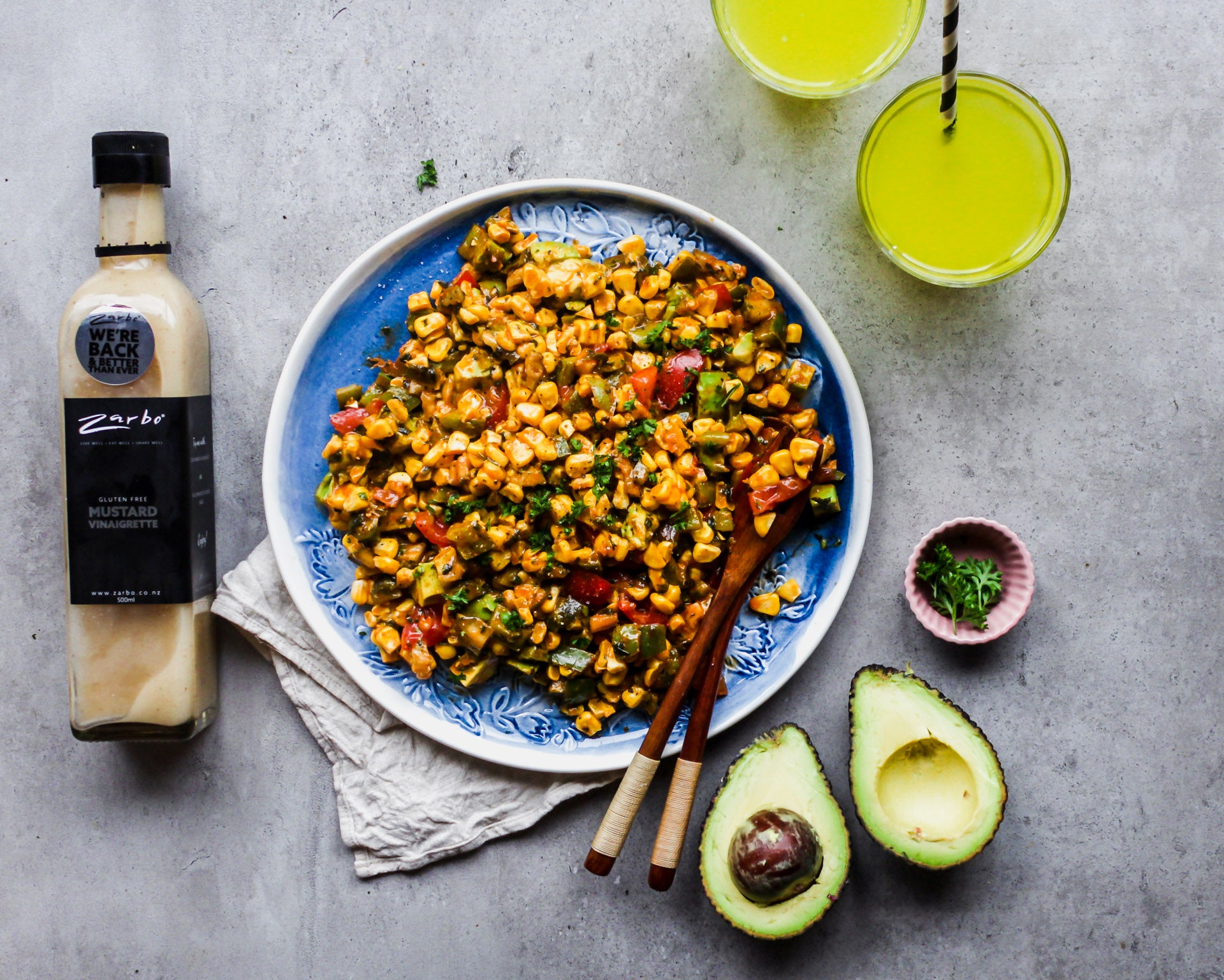 Corn, Avocado & Dill Pickle Salsa with Mustard Vinaigrette