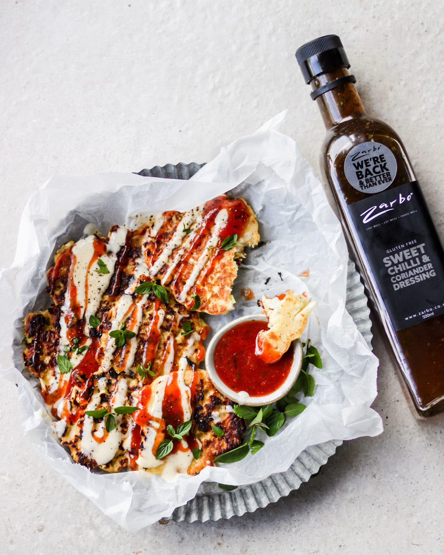 Sweet Chilli & Coriander Okonomiyaki with Tomato Sweet Chilli Dipping Sauce