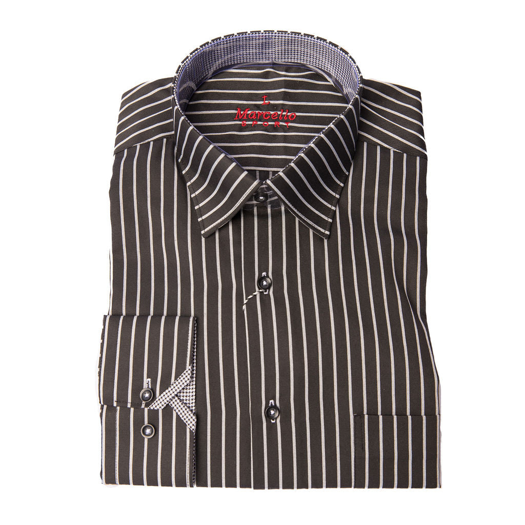 BLACK AND WHITE REVERSE STRIPE SPORT SHIRT