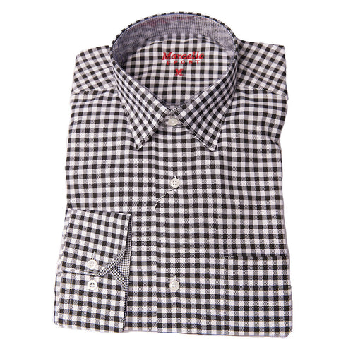 BLACK AND WHITE GINGHAM CHECK SHIRT