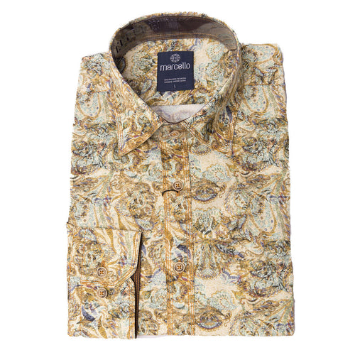 BLOND TONE WATER COLOR PAISLEY SPORT SHIRT