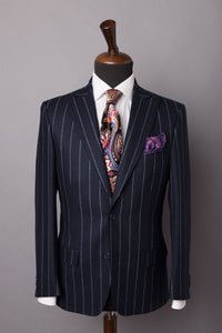 DARK BLUE PINSTRIPE SUPER 120'S SUIT BY BARBERIS