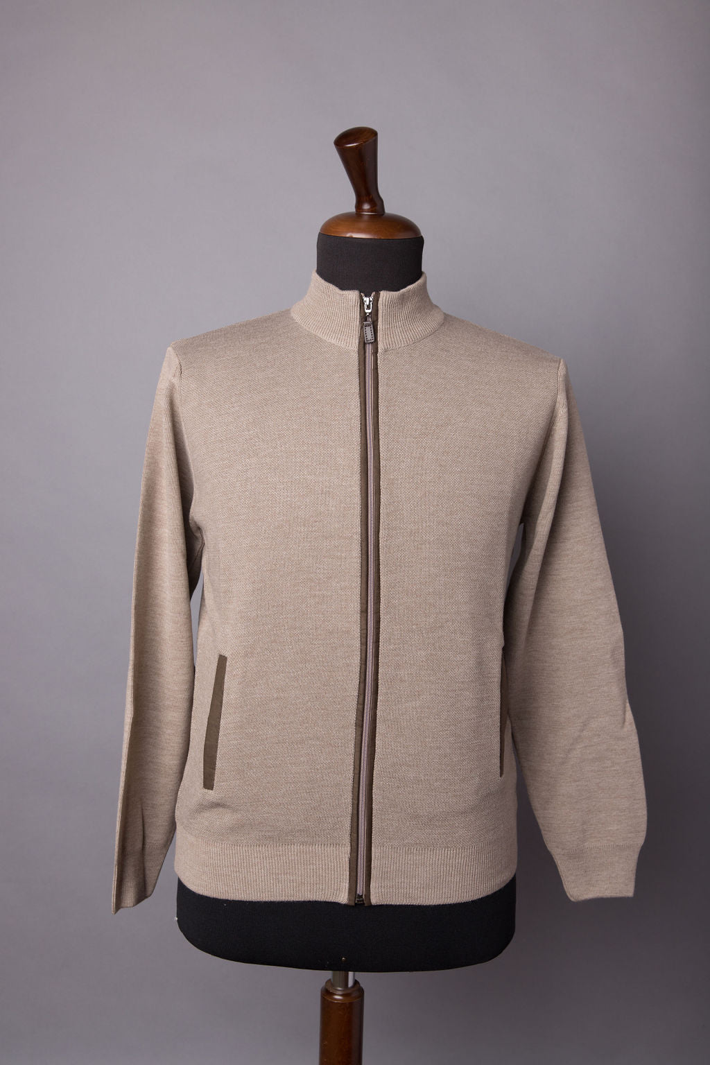 TAUPE FULL ZIP MOCK SWEATER