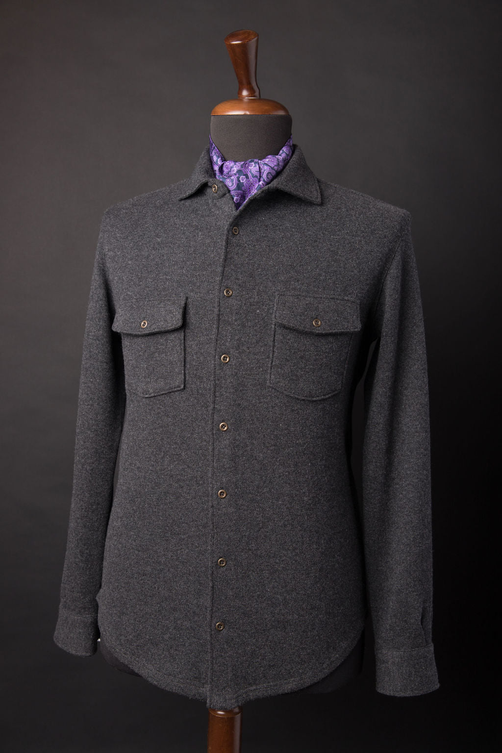 PURE 8 PLY CHAR GREY CASHMERE OVER-SHIRT