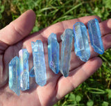 AQUA AURA Quartz Crystal Point - Beautiful Blue Rainbow Titanium Aura Quartz Point