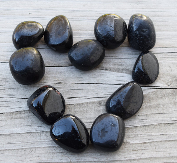 BLACK TOURMALINE Tumble Stone - Grounding Root Chakra Crystal