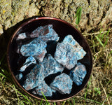 BLUE APATITE Raw Crystal Chunk - Throat & Third Eye Chakra Balancing Stone